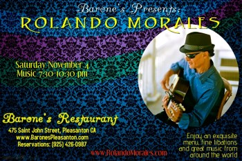 Rolando Morales entertains at Barone's November 4th, 2017