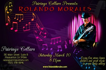 Rolando Morales entertains at Pairings Cellars on March 10, 2018