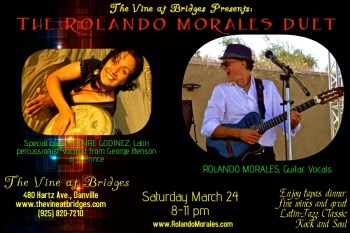The beautiful Estaire Godinez joins Rolando Morales for a performance at The Vine at Bridges on Saturday March 24, 2018