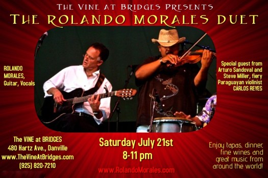 Carlos Reyes joins Rolando Morales at the Vine at Bridges, July 21 2018