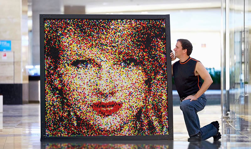Portrait of Taylor Swift made from 17,625 gum balls by artist Rob Surette