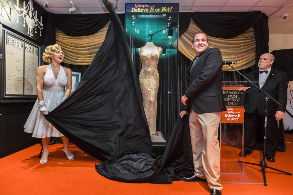 Ripley's Believe It or Not! unveils the world's most expensive dress, Thursday, Aug. 3, 2017 in San Francisco. (Eric Kayne/AP Images for Ripley's Believe It or Not!)