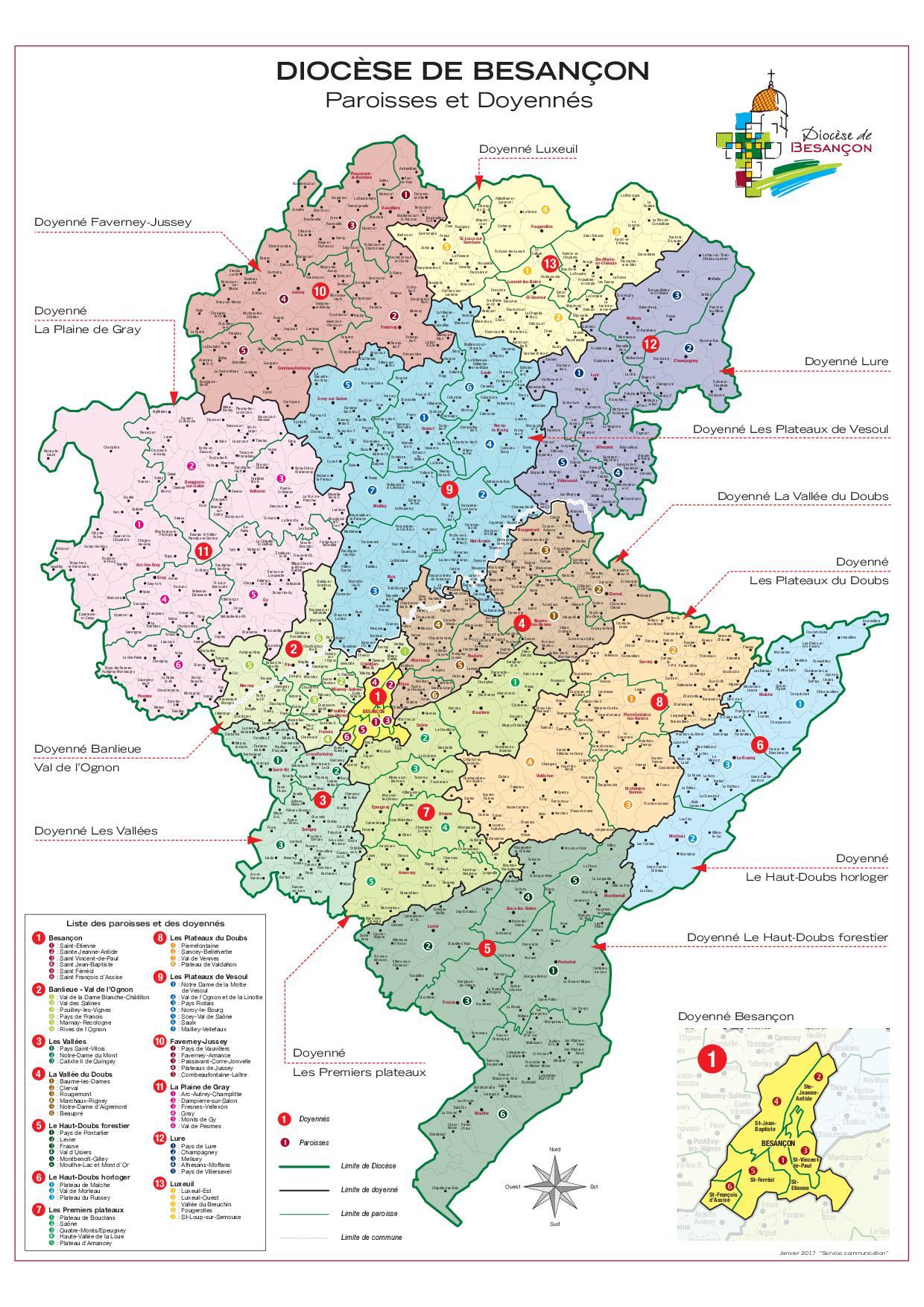 Cartes du diocèse de Besançon - Riposte-catholique