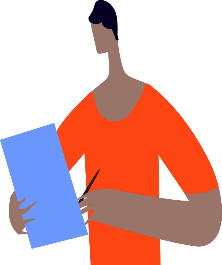 Vector illustration of man writing in book