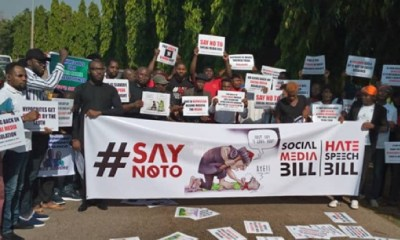 Protesters storm N'Assembly over Sowore, social media bill