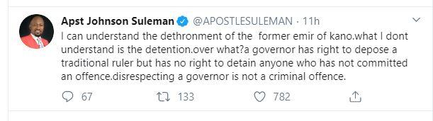 SANUSI: Disrespecting a governor not a criminal offence, Apostle Suleman tells Kano govt