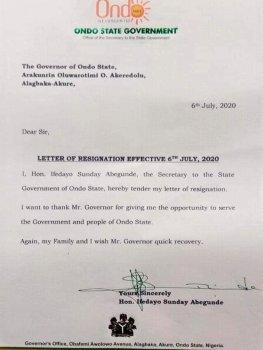 Ondo SSG, Abegunde, resigns