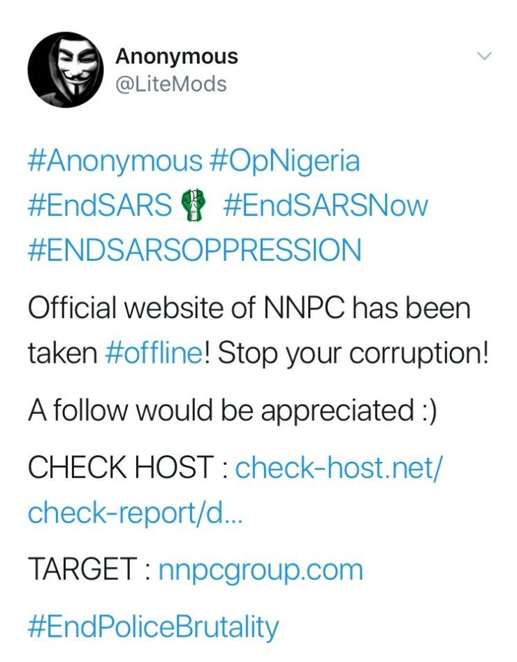 #Anonymous takes down NNPC website, warns corporation against corruption
