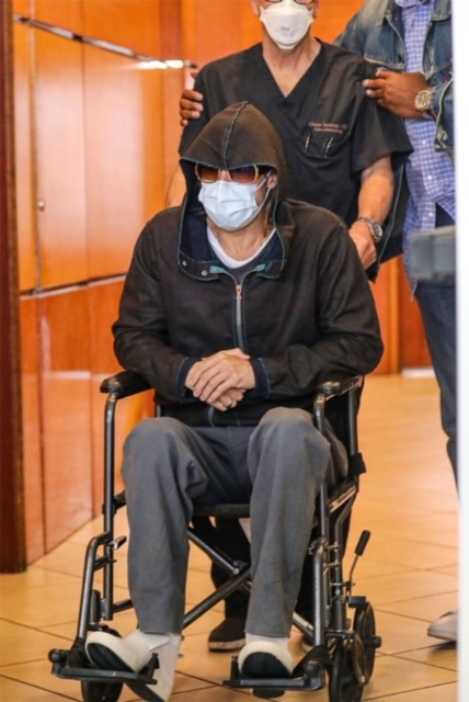 Fans panic as Hollywood actor, Brad Pitt, leaves hospital in a wheelchair