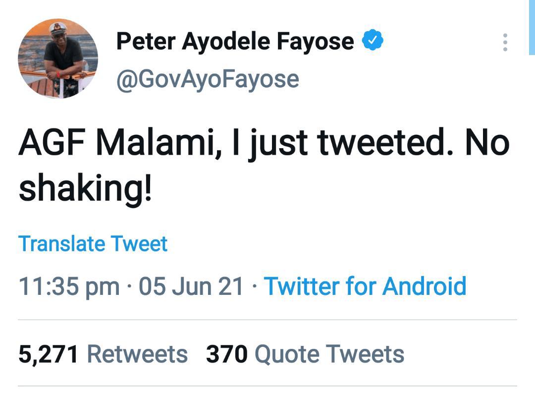 Fayose Twitter handle