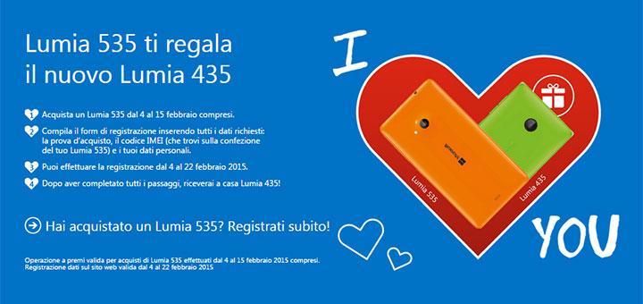 Amore Esagerato: ultime ore per ricevere in regalo un Lumia 435 acquistando un Lumia 535