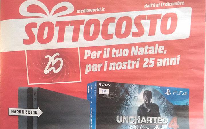 Volantino Sottocosto Media World: PS4 Slim 1tb + Uncharted 4 + Dualshock 4 aggiuntivo a 299 Euro – iPhone 7 128gb 799€ – TV 4K 649€ – Notebook i5 649€