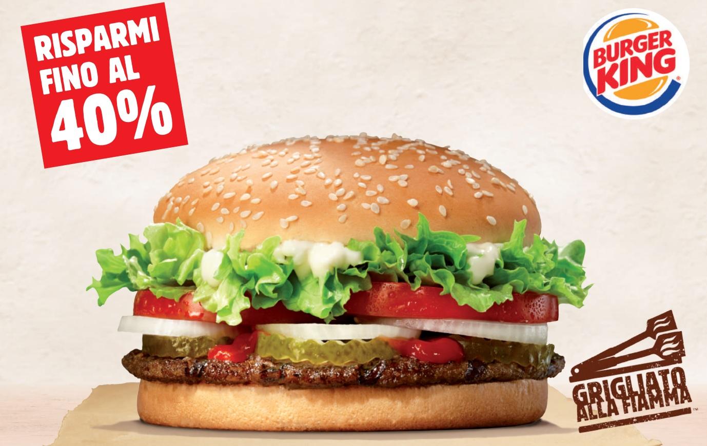 Buoni sconto Burger King per risparmiare fino al 40% validi fino al 14/03/2017