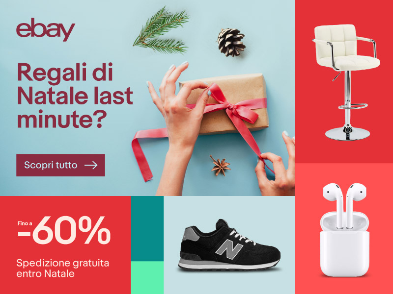 eBay Speciale Natale: Airpods 149€ – iPad 2017 279€ – TV 4K 43″/49″/55″ a 406€/449€/549€ – iPhone 7 509€ – Canon EOS 1300D 269€