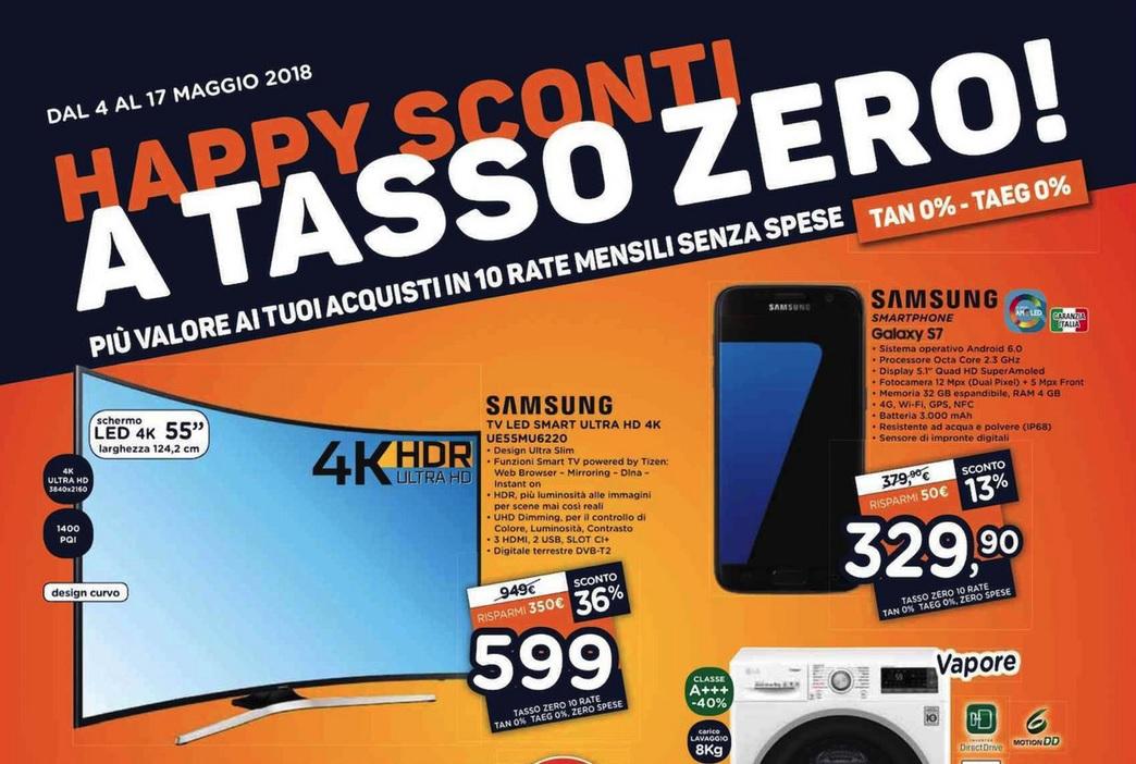 """Volantino Unieuro """"Happy Sconti A Tasso Zero"""" (agg. 02/05/2018)"""