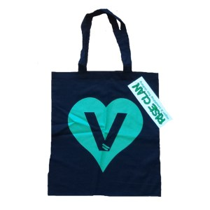 V heart tote bag black