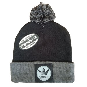vegan beanie grey and black
