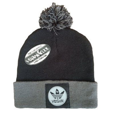 vegan beanie grey and black