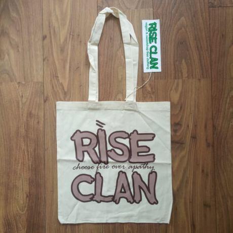 rise clan brown tote bag