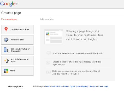Google+ Page screenshot