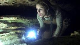 Bobbie explores the cave...