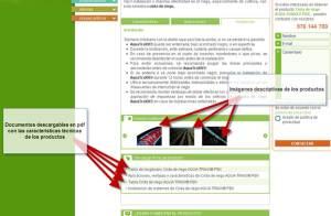 Imágenes de los productos y fichas descargables sobre sistemas de riego