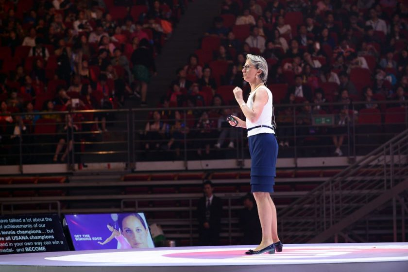 Dr Ann Quinn speaks before thousands at the WTA - Usana Convention 2016