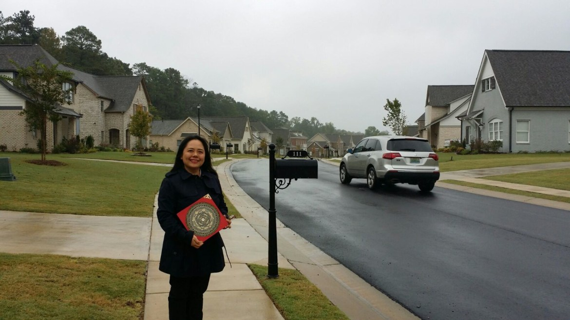 Angela with her Feng Shui loupan compass Mountain Brook, Birmingham, AL