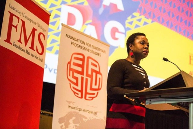 Amma Assante delivering the opening address at the Africa Day 2016. The latter is the largest annual event in the Netherlands in the field of Africa and development aid and is organised by the Foundation Max van der Stoel.