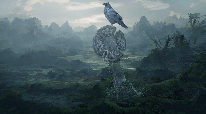 Raven on tombstone