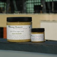 Here is our full size 16oz jar of foaming sugar scrub and its little buddy the 2oz size!