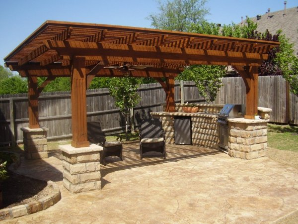 outdoor kitchen with pool and patio Outdoor kitchen | Rising Sun Pools and Spas