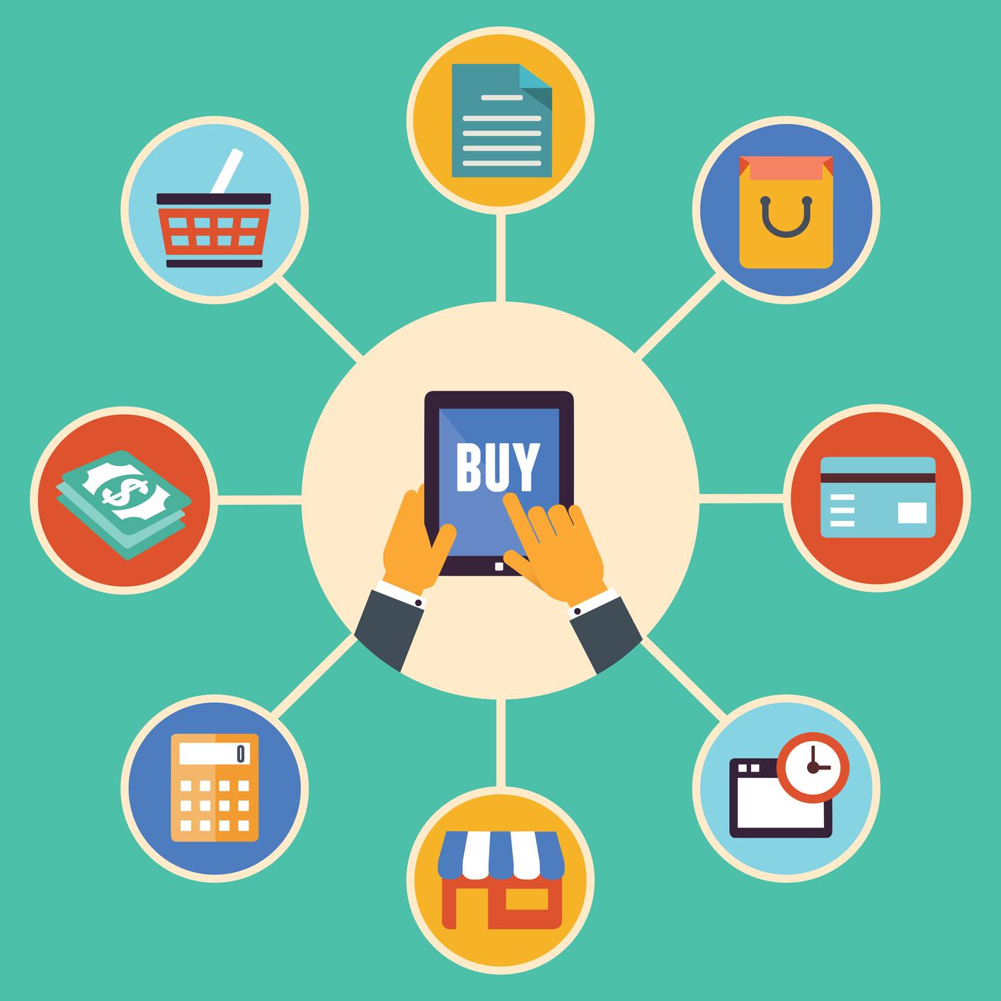 Flat Design Vector Concept Of E Commerce Symbols Online