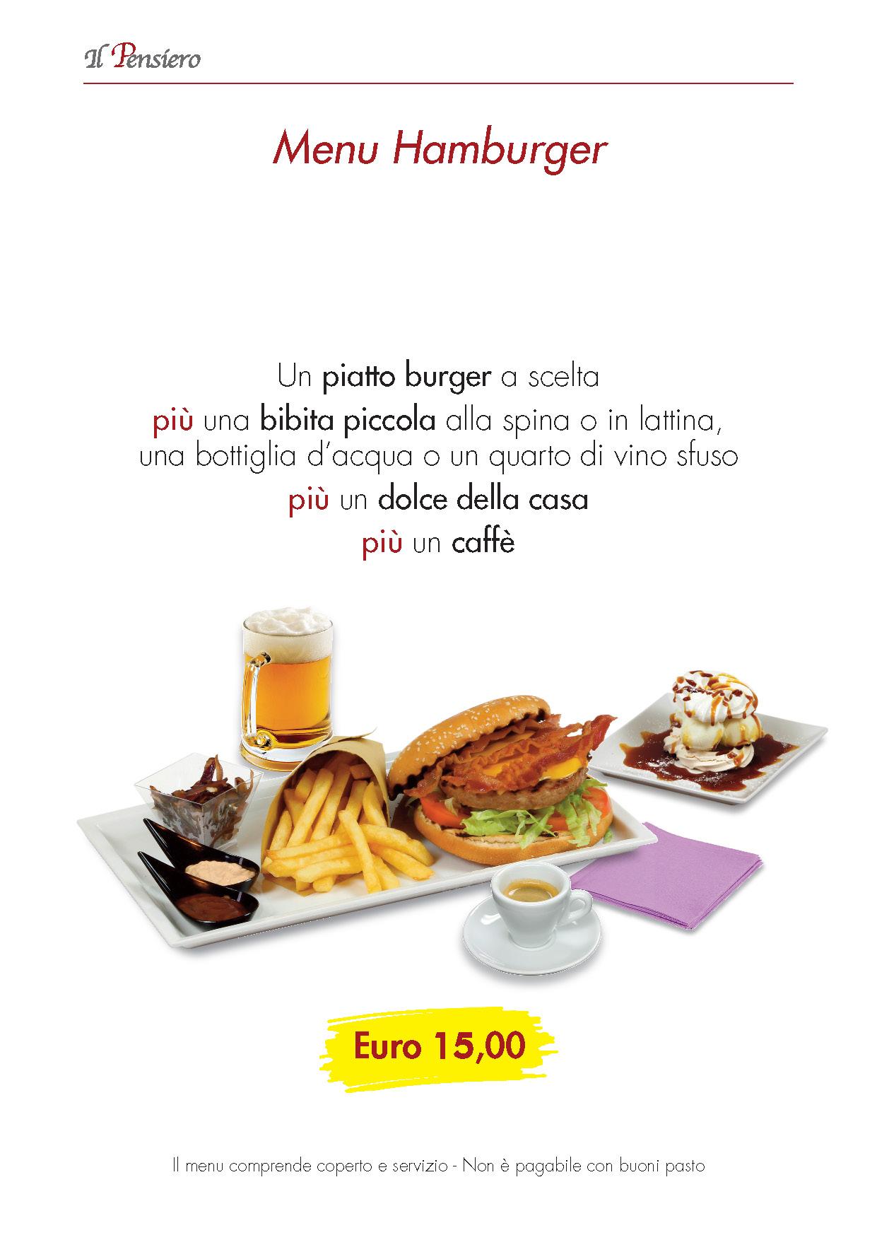 menu Il Pensiero HAMBURGER