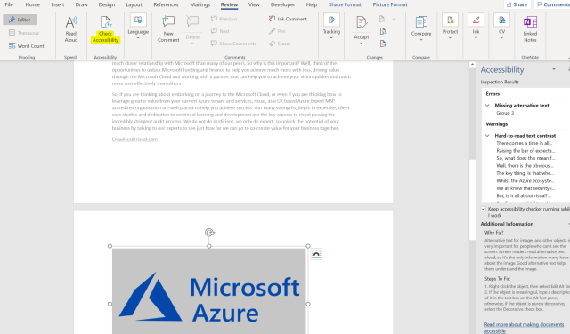 A screenshot of a word document with check accessibility highlighted