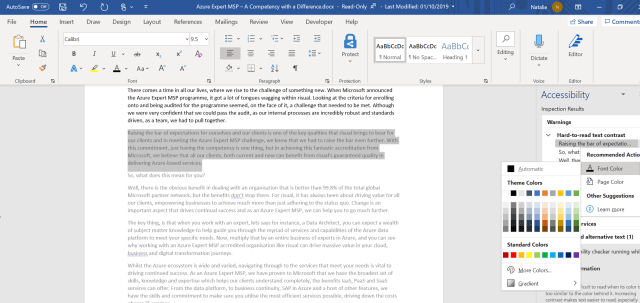 Word document showing the fix of a warning about text colour against background