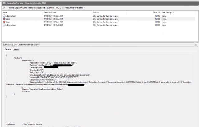 Event viewer showing connector service log with error 30132 slected