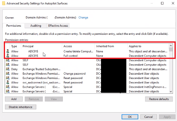 Security settings of the OU storing the created machine accounts