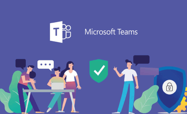 Cartoon of people collaborating with Microsoft Teams