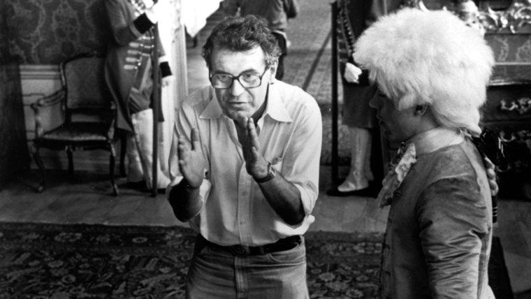 Milos Forman con Tom Hulce sul set di Amadeus