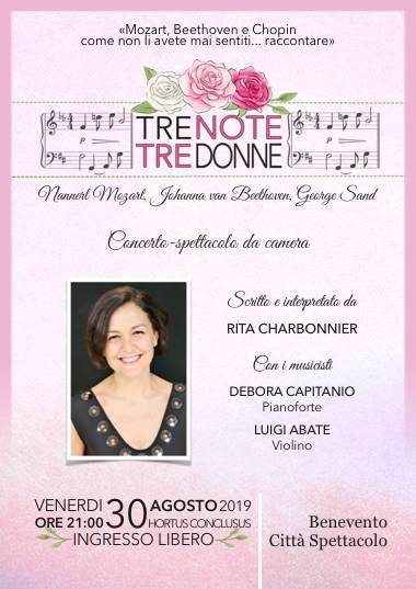 Locandina TRE NOTE, TRE DONNE a Benevento Città Spettacolo