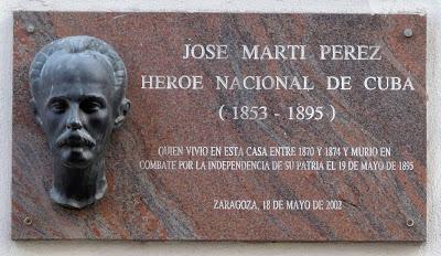 plaque à José Marti à Saragosse