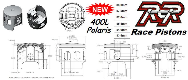 400L Polaris Race Pistons