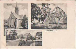 Kirche, Gasthof und Dorfteich Endschütz aus dem Jahre 1913