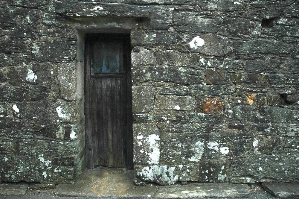 Glendalough, Ireland Stone With Wood Door