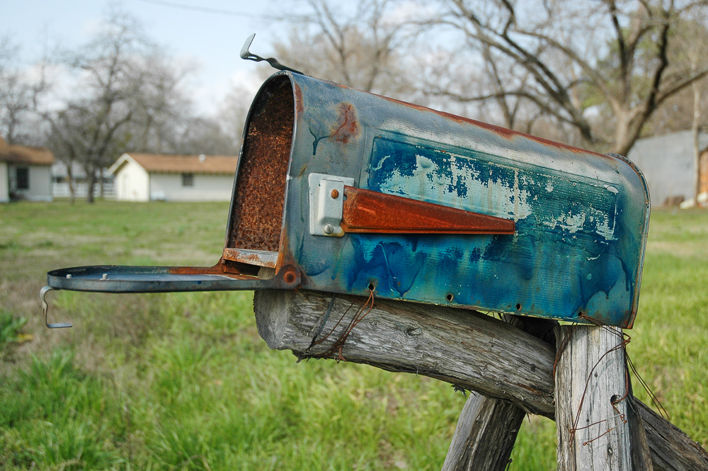 Blue Mailbox, Homemade, Texas