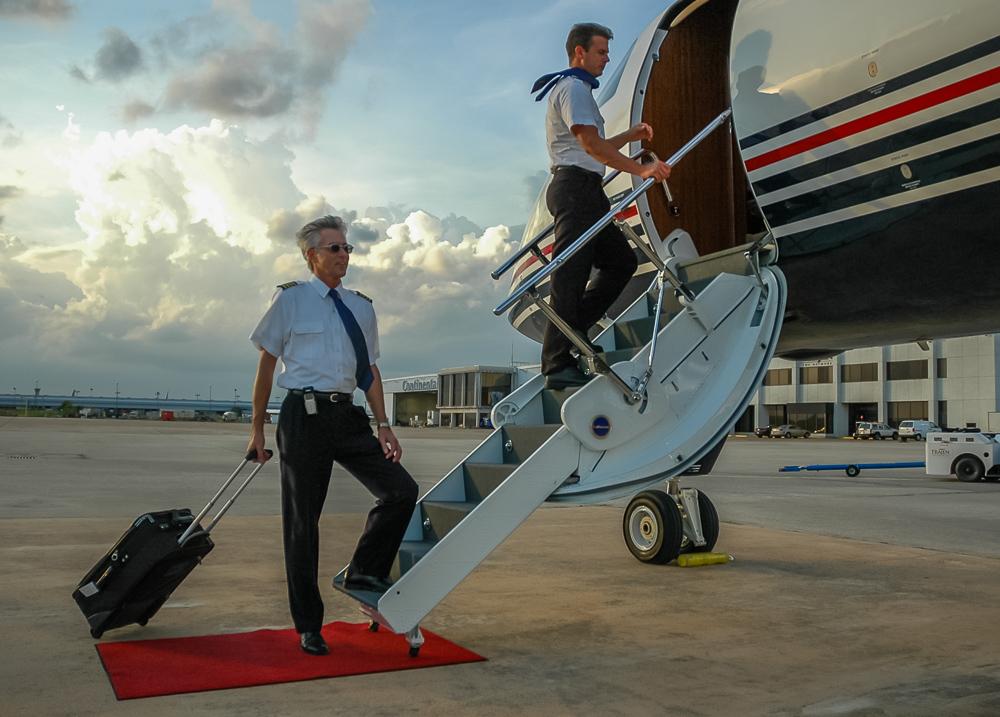 Pilots Boarding Plane In Style