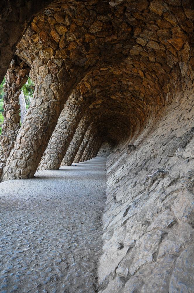Barcelona Spain Park Guell Tunnel