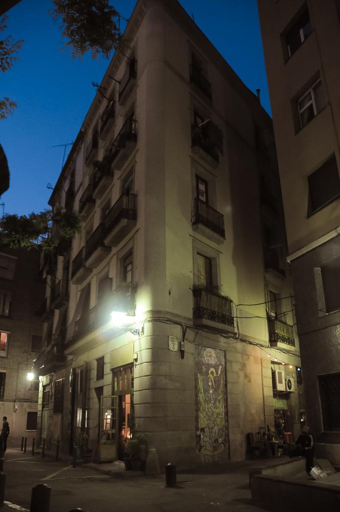 Barcelona Spain Night Building Hidden Street Old Town