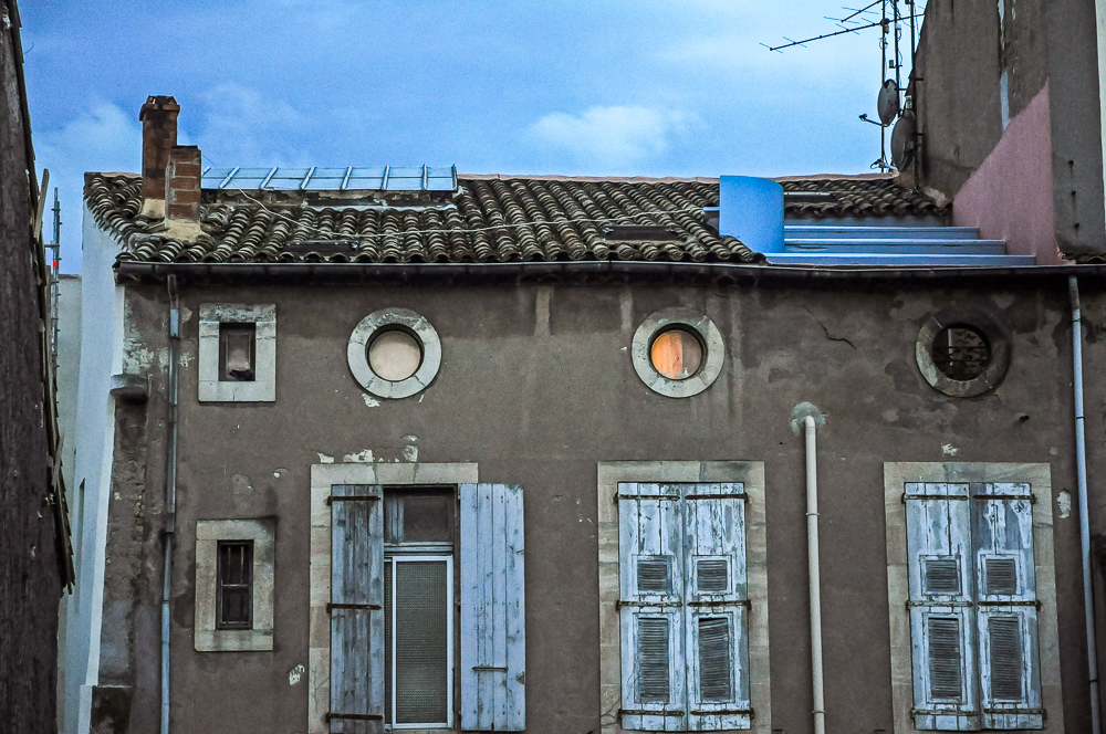 House Round Windows Clay Tile Roof Stories Inside, France